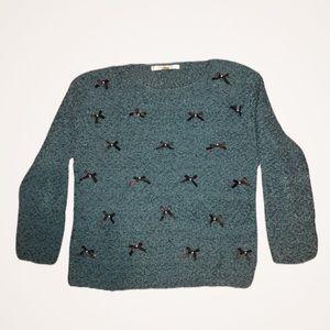 LC Lauren Conrad Nubby Pearl Bows Sweater